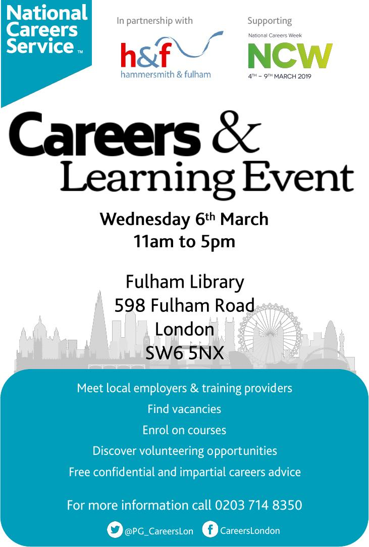 Job Fair Careers and Learning Event 6 March 2019 Fulham Library brochure