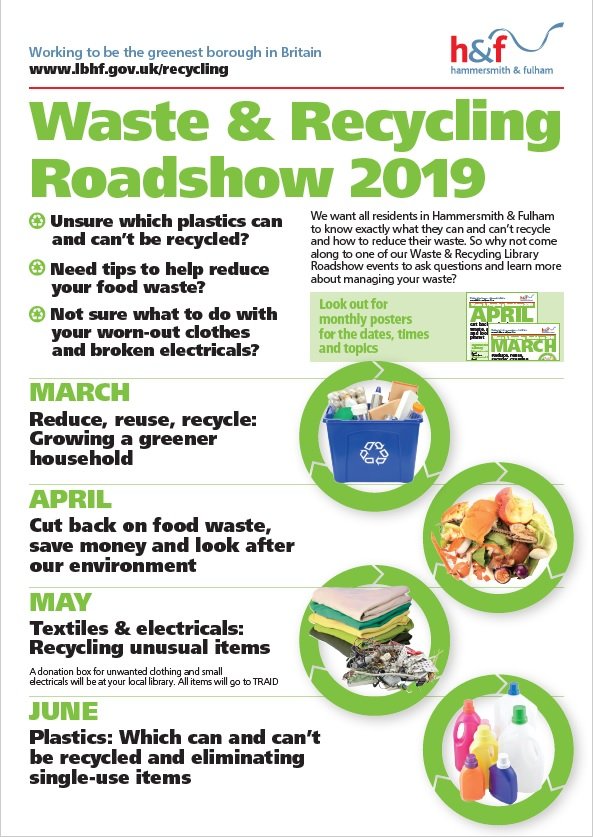 recycling roadshow 2019 poster for march april may and june events