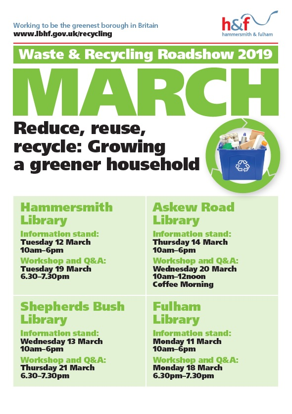 recycling march 2019 poster with dates